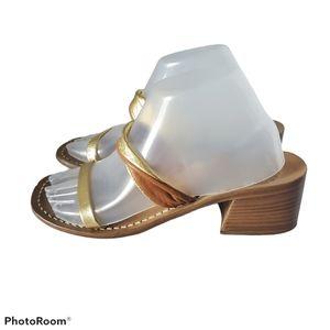 La Conchiglia Leather Block Heel Sandals Italy 9